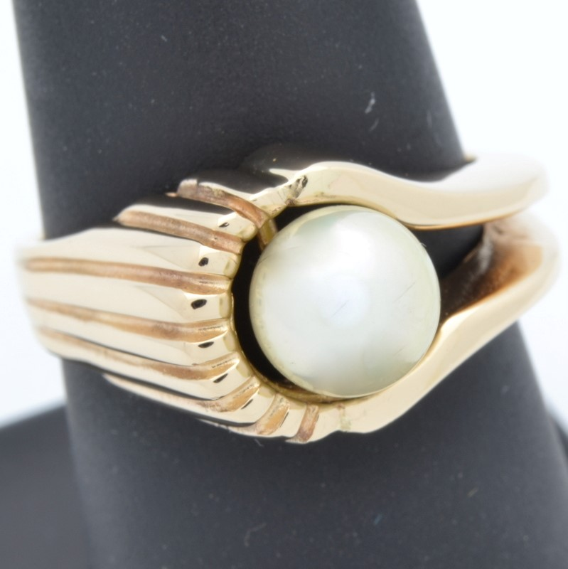 ESTATE PEARL RING SOLID 14K YELLOW GOLD FINE WRAP RIDGED SIZE 7.25