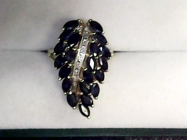 Sapphire Lady's Stone & Diamond Ring 10 Diamonds .10 Carat T.W. 14K Yellow Gold