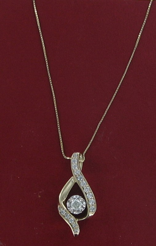 Diamond Necklace .15 CT. 14K Yellow Gold 2.8dwt