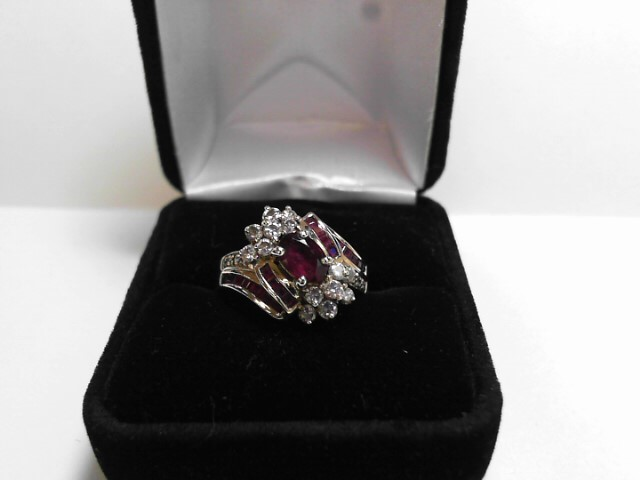 Synthetic Ruby Lady's Stone & Diamond Ring 14 Diamonds .28 Carat T.W.
