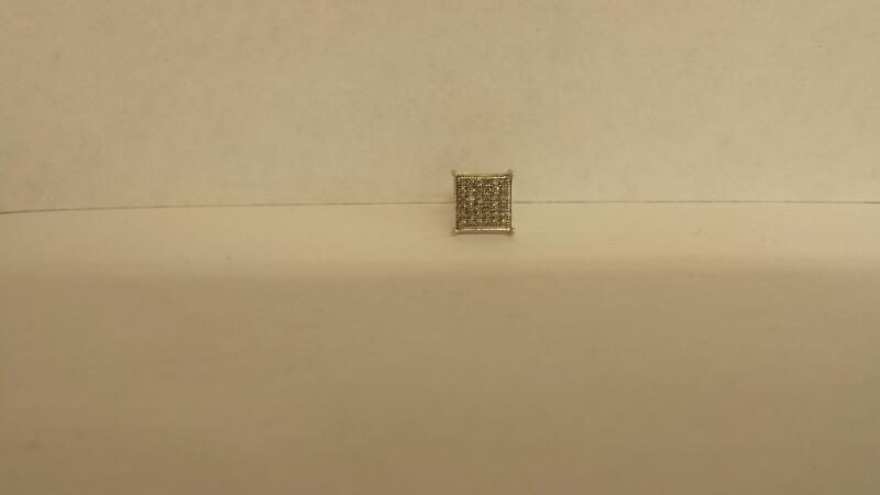 Gold-Diamond Earrings 24 Diamonds .24 Carat T.W. 10K White Gold 0.47dwt