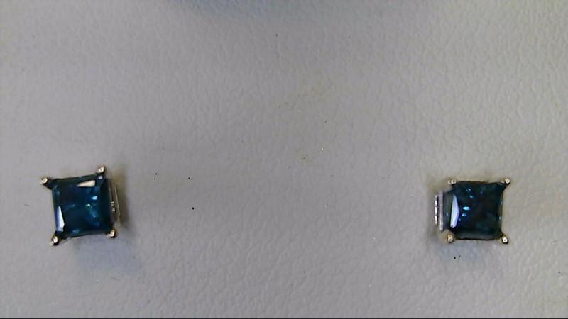 ESTATE WG 1/2CTTW PC BLUE DIAMOND STUD EARRINGS