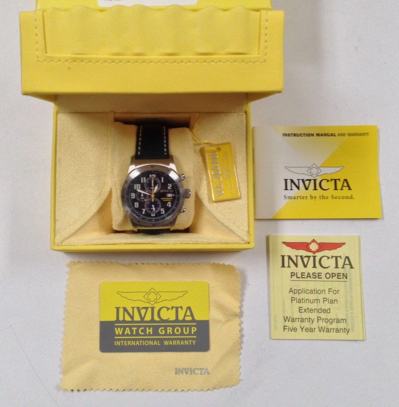 Invicta Specialty Military S.S. Black Dial Techno Band Watch #1316