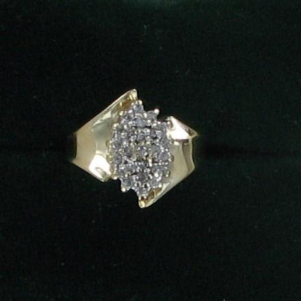 Lady's Diamond Cluster Ring 25 Diamonds .75 Carat T.W. 10K Yellow Gold 2dwt