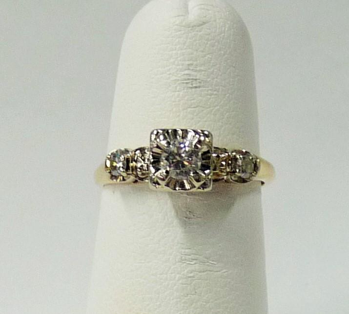 Lady's Diamond Engagement Ring 3 Diamonds .30 Carat T.W. 10K Yellow Gold