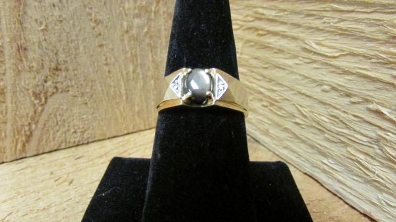 Brown Stone Gent's Stone & Diamond Ring 2 Diamonds .02 Carat T.W.