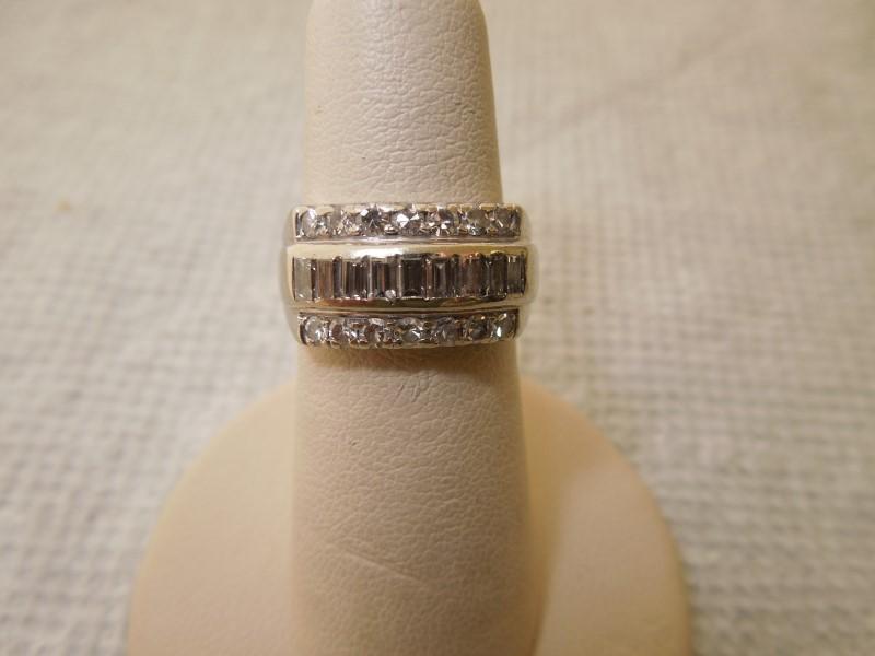 Lady's Diamond Fashion Ring 23 Diamonds .73 Carat T.W. 14K White Gold 4.8g