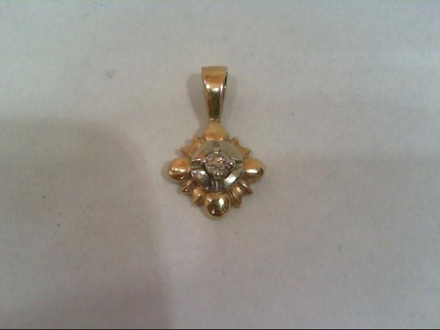 Gold-Diamond Solitaire Pendant .10 CT. 10K 2 Tone Gold 1.1g