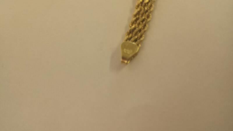 Gold Rope Bracelet 14K Yellow Gold 4.5dwt
