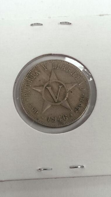 1946 REPUBLICA DE CUBA CINCO CENTAVOS