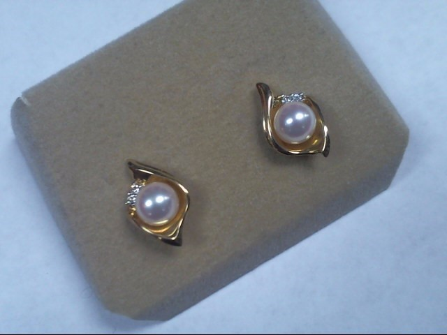 Pearl Gold-Diamond & Stone Earrings 4 Diamonds .04 Carat T.W.