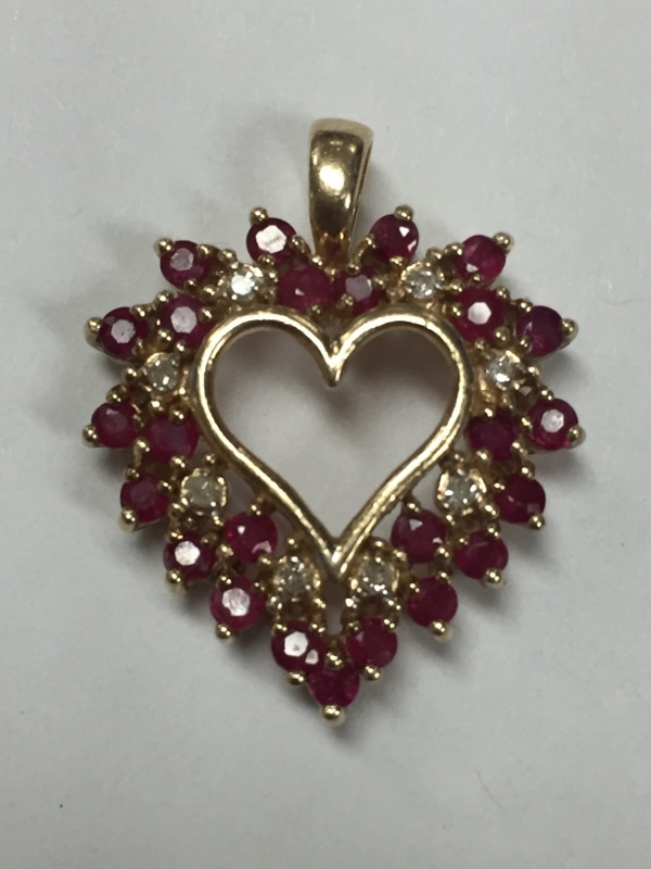 "*RUBY & DIAMOND HEART-SHAPED PENDANT SET IN 10K YELLOW GOLD 1"" IN LENGTH"