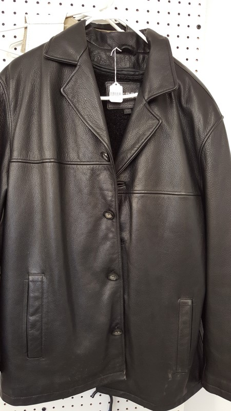 GUESS Coat/Jacket MENS LEATHER JACKET - BLACK LG