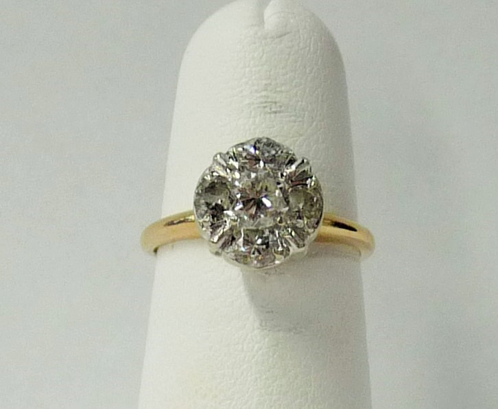 Lady's Diamond Engagement Ring 5 Diamonds .65 Carat T.W. 14K Yellow Gold