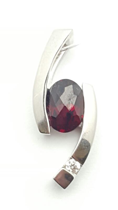 Almandite Garnet Gold-Diamond & Stone Pendant .04 CT. 14K White Gold 4.3g