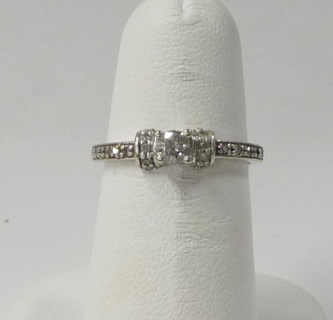 Lady's Diamond Engagement Ring 21 Diamonds .35 Carat T.W. 10K White Gold