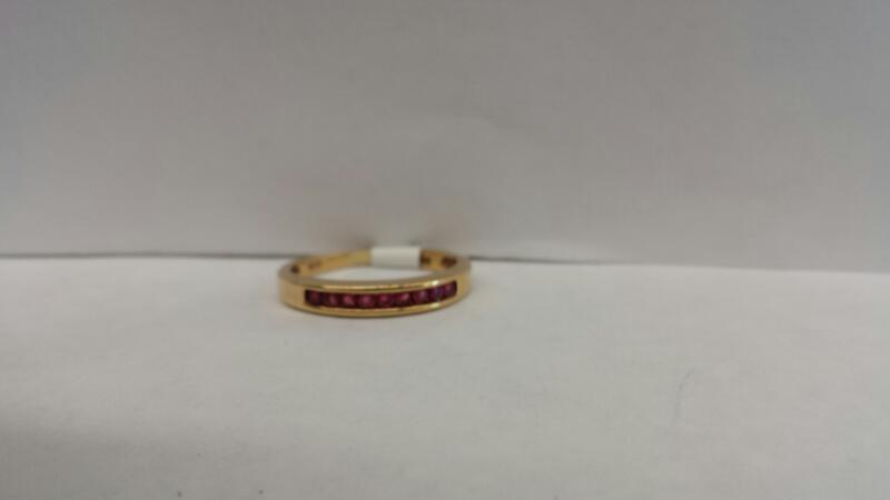 10k Yellow Gold Ring with 9 Red Stones