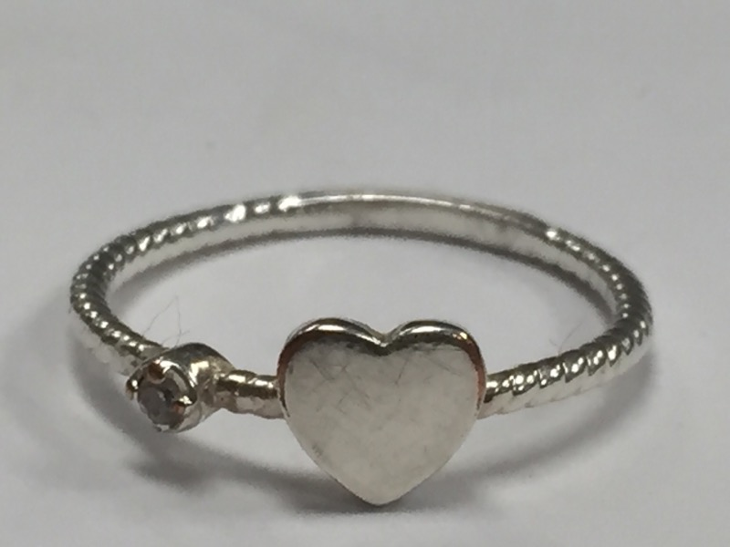 HEART ROPE BAND STERLING SILVER RING Size:5