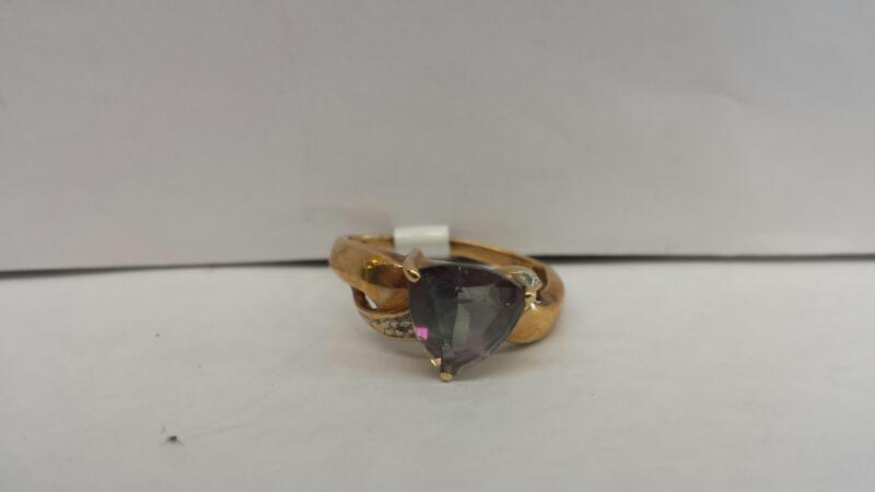 10k Yellow Gold Ring with a Purple Trillion Stone