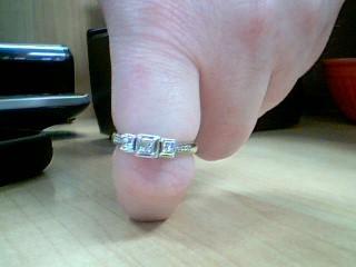 Lady's Diamond Cluster Ring 3 Diamonds .72 Carat T.W. 10K White Gold 3.01g