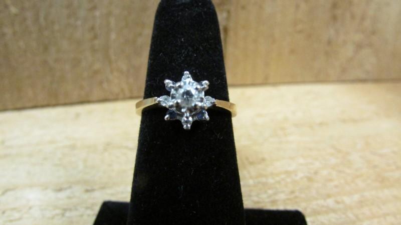 Lady's Stone & Diamond Ring 5 Diamonds 0.14 Carat T.W. 14K Yellow Gold 3g