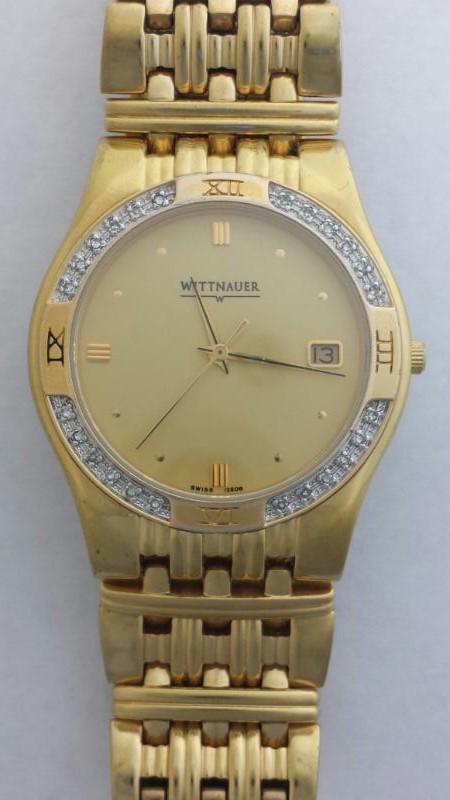 Wittnauer Men's 24 Diamond Luxury Goldplated Laureate Swiss Watch 12E08 C952366