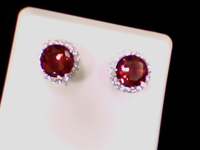 Red Stone Silver-Stone Earrings 925 Silver 2g