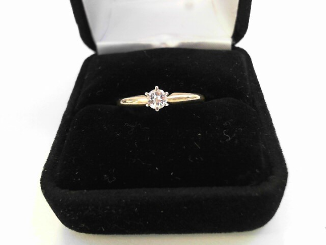 Lady's Diamond Solitaire Ring .25 CT. 14K Yellow Gold 1.2dwt Size:8