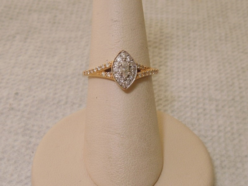 Lady's Diamond Fashion Ring 31 Diamonds .280 Carat T.W. 14K Yellow Gold 3g