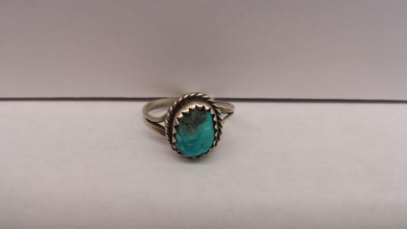 1 Silver Ring with a Turquoise Stone