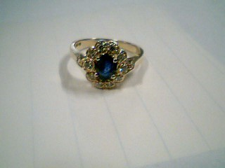 Synthetic Sapphire Lady's Stone & Diamond Ring 10 Diamonds .20 Carat T.W.