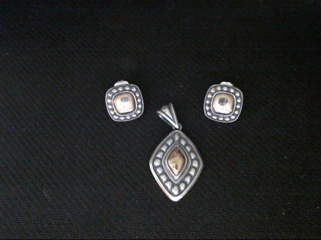 Silver/Gold Pendant & Earrings Set 14Kt/925