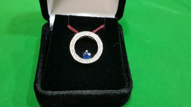 Sapphire Gold-Diamond & Stone Pendant 34 Diamonds .34 Carat T.W. 14K White Gold