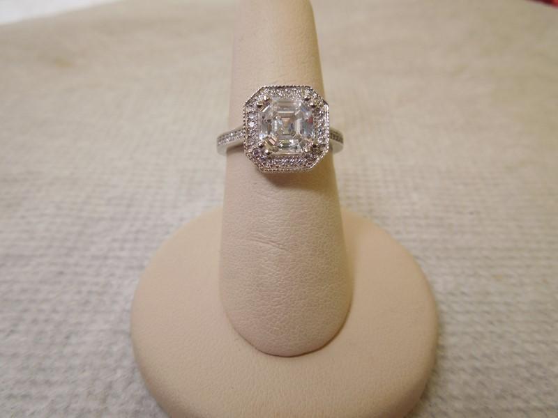 White Stone Lady's Stone Ring 14K White Gold 3.4g Size:7.5