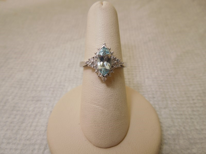 Synthetic Aquamarine Lady's Stone & Diamond Ring 23 Diamonds .23 Carat T.W.