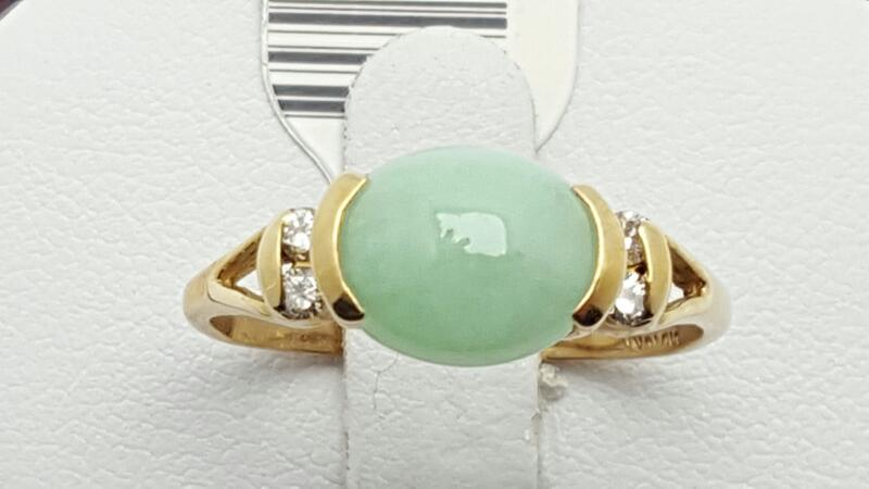 Lady's Jade & Diamond Ring 4 Diamonds .12 Carat T.W. 14K Yellow Gold 2.5g