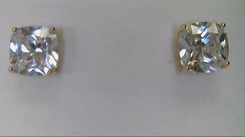 Synthetic Cubic Zirconia Silver-Stone Earrings 925 Silver 2.6g