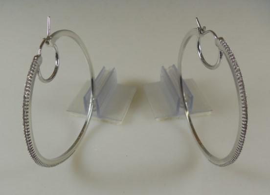 Silver-Diamond Earrings 140 Diamonds 1.40 Carat T.W. 925 Silver 10.2g