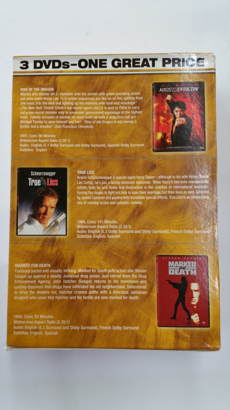 DVD 3 PACK - Kiss The Dragon/True Lies/Marked For Death