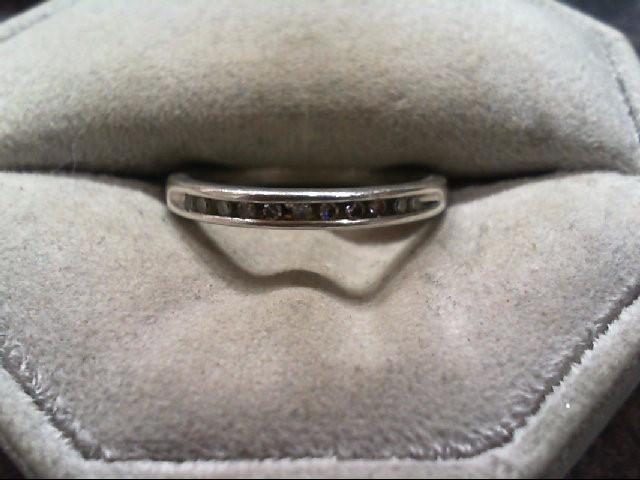Lady's Silver-Diamond Ring 11 Diamonds .11 Carat T.W. 925 Silver 2.4g