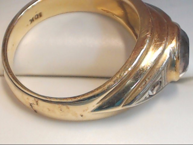 Synthetic Agate Gent's Stone Ring 10K Yellow Gold 7.3g Size:10