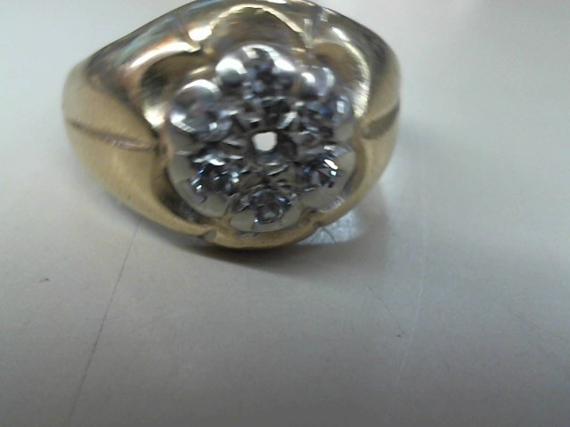 Gent's Diamond Cluster Ring 13 Diamonds .33 Carat T.W. 14K Yellow Gold 4.2g