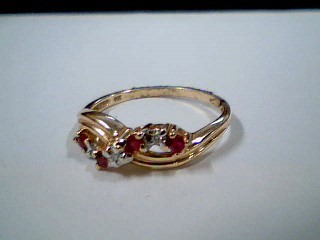 Synthetic Ruby Lady's Stone & Diamond Ring 3 Diamonds .03 Carat T.W.