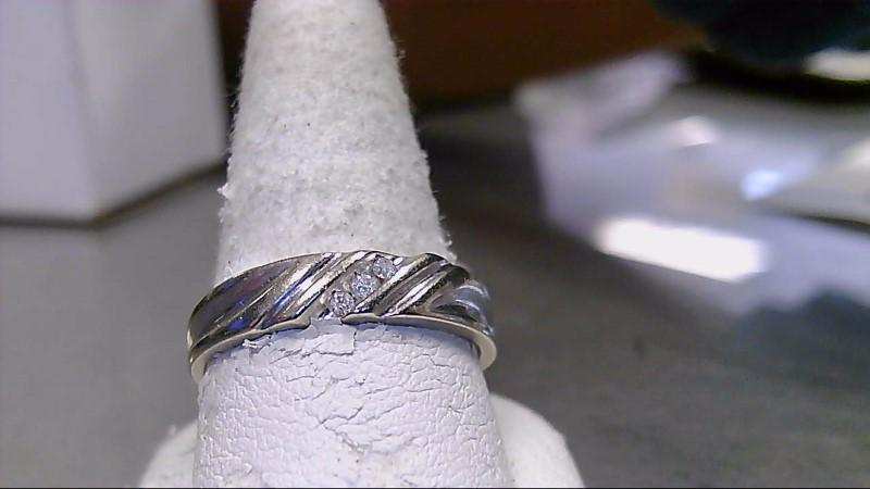Gent's Gold-Diamond Wedding Band 3 Diamonds .12 Carat T.W. 14K White Gold 3g