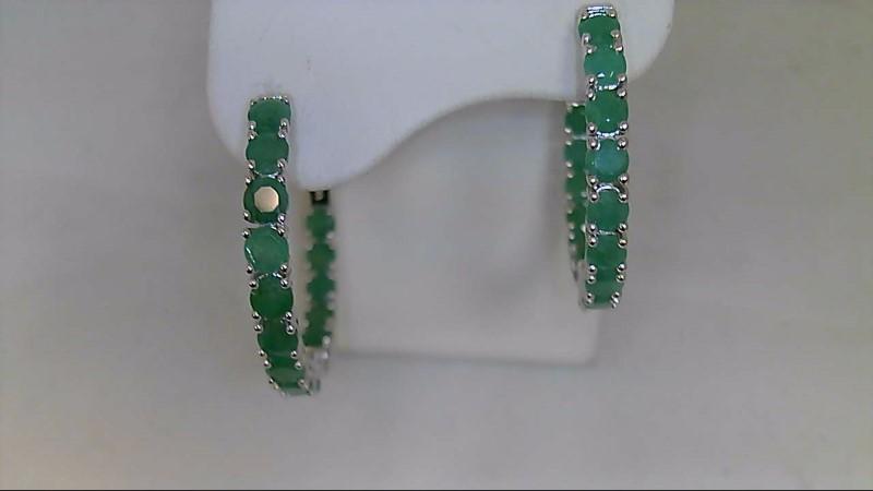 May Birthday Emerald Round Cut Hoop Sterling Silver Earrings Hoop 925