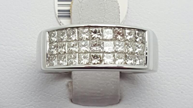 lady's Diamond Cluster Ring 27 Diamonds 1.62 Carat T.W. 14K White Gold 5.9g