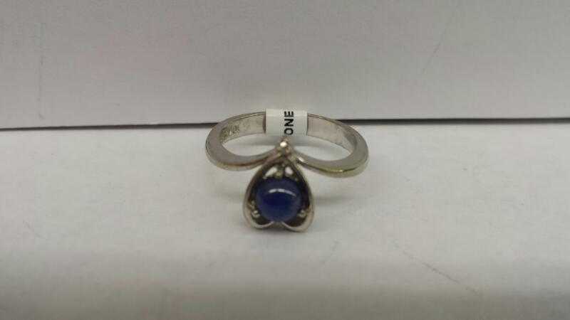 10k White Gold Ring with 1 Blue Stone and 1 Diamond Chip