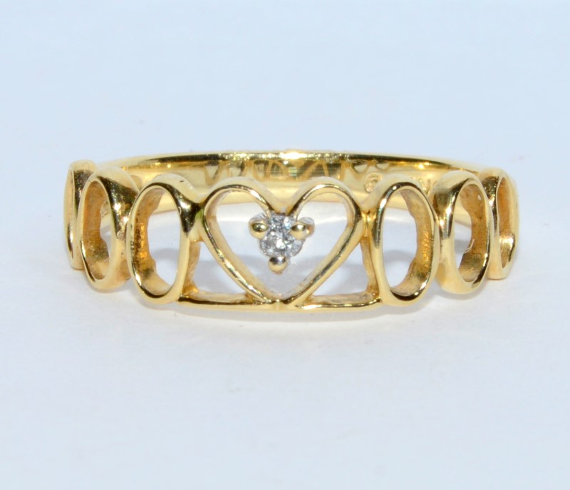 10K Yellow Gold Hearts & Os Silhouette Diamond Stacker Ring Band sz 7