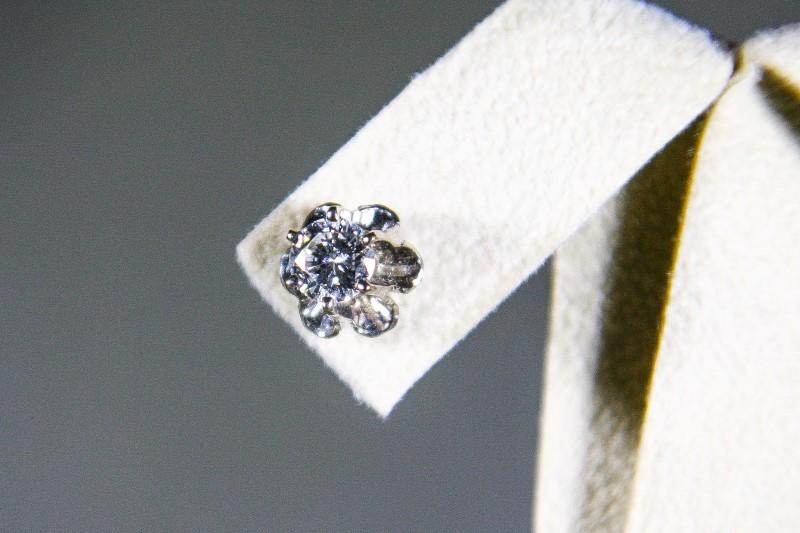Gold-Diamond Earrings 2 Diamonds .80 Carat T.W. 14K White Gold 2.3g