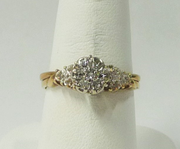 Lady's Diamond Cluster Ring 13 Diamonds .88 Carat T.W. 10K Yellow Gold 1.88dwt